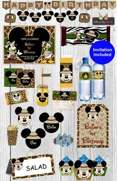 Thank you for visiting my shop!  Your little one will love this beautiful Mickey Mouse Safari complete birthday party kit!  This listing is for a PRINTABLE digital file for printing at home or uploading to a professional printer - NO physical item will be shipped out. (All items will be sent on 8 1/2 x 11 PDF files.)  A la carte items are available, please ask me about it!  ------------------------------------------------------------------------------------------------------- PLEASE PROVIDE…