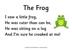 The Frog poem -  Can you find the words that rhyme? (frog, log, be, me) Notice that this little poem is filled with high frequency sight words. Also the words little and sitting, both words with short i in the first syllable. The words saw and was are both used here for kids who are working on reversals.