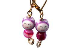 Items similar to Kawaii Cute Cat Maneki Neko Earrings. on Etsy Good Luck Symbols, Purple Cat, Maneki Neko, Kawaii Cute, Cute Cats, Kitty, Pendant Necklace, Trending Outfits, Unique Jewelry