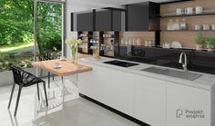 Czarne szafki w kuchni - czy trzeba się ich bać? Zobacz jak urządzić nowoczesny biało-czarny aneks kuchenny i optycznie powiększyć wnętrze! PROJEKT: WNĘTRZE Kitchen Island, Table, Furniture, Home Decor, Island Kitchen, Decoration Home, Room Decor, Tables, Home Furnishings