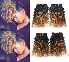 Greemeo Human Hair Weaving 2 Tone Black Ombre Brazilian 8 Inches Short Curly Virgin Hair 4 Pieces Lot Machine-Weft Sew in Extensions Unprocessed Jerry Curl 8 8 8 inches, Blonde Balayage Highlights On Dark Hair, Sew In Extensions, Jerry Curl, Black Ombre, 100 Human Hair, Virgin Hair, Weave Hairstyles, Curls, Curly Hair Styles