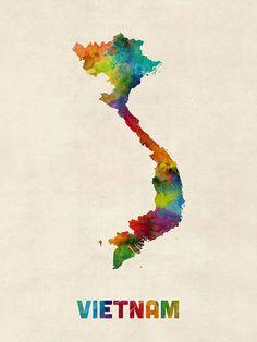 Vietnam Watercolor Map Digital Art by Michael Tompsett