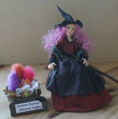 "Henrietta Humbug's Halloween Delights, handsculpted miniature witch doll in 1/12th (1"") scale"