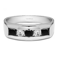 TwoBirch Men's Sterling Silver 0.75-carat Black and White Cubic Zirconia Wedding Fashion Ring (Sterling Silver, Size 8)
