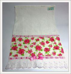 Comprar Artesanatos Ana Lu: Toalha de lavabo Flores Rosa