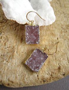 Rose Druzy Earrings Agate Drusy Quartz Tags 14K by julianneblumlo, $76.00