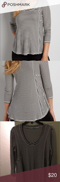 Ribbed Swing Tee With Stripes Great piece for layering on top of, or keeping simple with colored denim. Versatile and comfortable. Soft & stretchy fabric. Scoop neck, 3/4 length sleeves. Raw edges. Only worn once. Excellent condition! 95% Rayon, 5% Spandex. Maurices Tops Tees - Long Sleeve