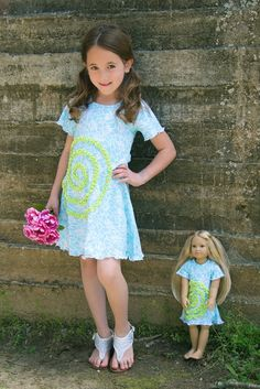 Lilli Lovebrid Shelley dress with matching doll dress. Colors: Turquoise & Lime. Doll garments fit 16-18 inch dolls such as e.g. American Girl. Available on www.lillilovebird.com