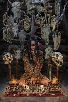 This is one of the paintings I completed over the Holidays. More of the fantasy/tribal images I've been so fascinated with over the last several moths. Reader of Bones Character Portraits, Character Art, Fantasy Characters, Female Characters, Tribal Images, Witch Art, Dark Fantasy Art, Fantastic Art, Native American Art