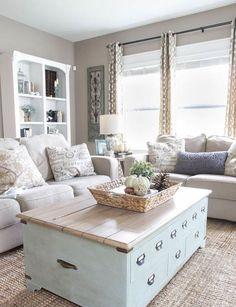 Cozy rustic farmhouse living room decor ideas (55)