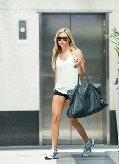 great legs, and cute workout bag