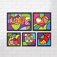 Conjunto de Quadro Decorativo Romero Britto Pop Art