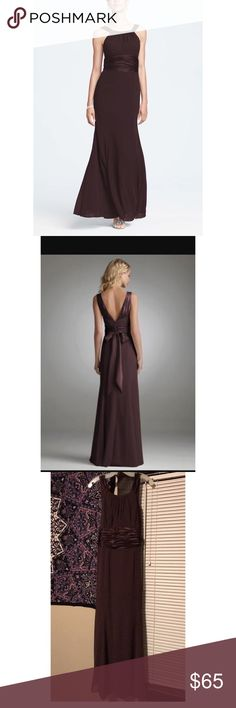 David's Bridal Chiffon &Charmeuse Bridesmaid Dress Chocolate brown colored maxi bridesmaid dress in excellent used condition- only worn once. Is actually a size 14 but fits more like a 10/12. David's Bridal Dresses Maxi
