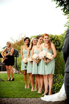 mint bridesmaids dresses from j crew #mint #bridesmaids #weddingchicks http://www.weddingchicks.com/2014/01/30/pink-and-peach-bejeweled-wedding/
