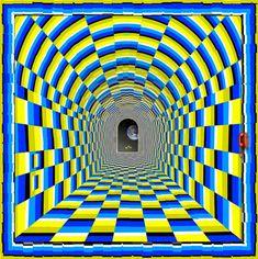 """Kaio Nao a creat acest desen numit """"Viziunea tunelului"""". Imaginea, care este una statica totusi, iti da senzatia ca tunelul se misca si te atrage spre gura sa de iesire, fiind o iluzie optica de o intensitate puternica. Acest lucru se datoreaza modului in care imaginea de mai jos este colorata."""