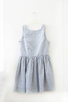 Blue seersucker summer dress
