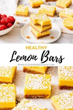 These healthy lemon bars are light, creamy and perfectly tart. The crust is made with whole wheat flour and the light lemon filling is dairy free. Lemon Dessert Recipes, Coconut Recipes, Lemon Recipes, Easter Recipes, Recipes Dinner, Lemon Bars Healthy, Healthy Desserts, Healthy Lemon Cake Recipe, Dinner Healthy