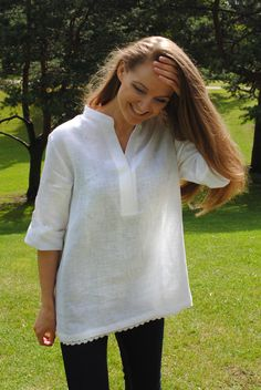 White v-neck linen tunic linen tunic with roll-up by feellinen