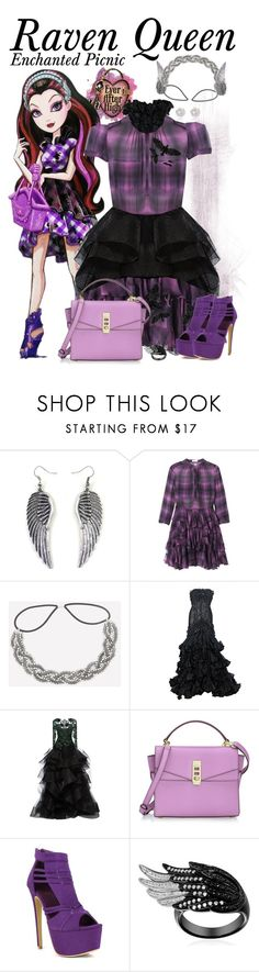 """""""Raven Queen: Enchanted Picnic"""" by supercalifragilistica ❤ liked on Polyvore featuring Rebecca Taylor, Bebe, Marchesa, Raven Denim, Henri Bendel, Fahrenheit and River Island"""