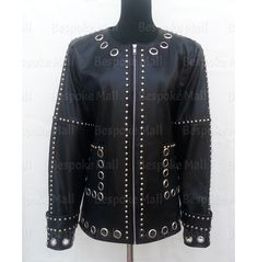 Black Leather Corset, Leather Jacket, Studded Jacket, Rock Style, Jacket Style, Clubwear, Black Silver, Biker, Punk