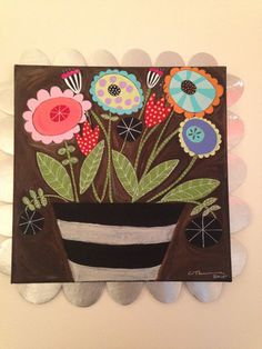funky flower painting black white stripes paiFolklorica painting - redshoeshomegoods