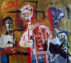 "Alejandro Santiago. Untitled #4. Mixed media on canvas, 59 x 67""."