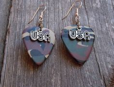 Camouflage Guitar Pick and USA Charm Earrings
