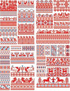 Free Download: Russian Folk Art EPS files. Awesome for fair isle/intarsia but also to apply to stationary etc