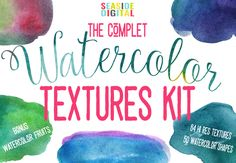 Complet Watercolor Textures Kit by Seaside Digital on @creativemarket