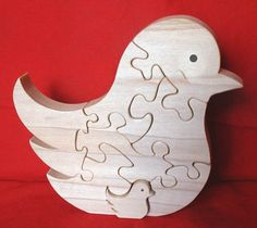 Song Bird with Baby  Childrens Wood Puzzle Game  by GrampsWoodShop, $14.95