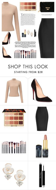 """TURTLENECK"" by iamkritika ❤ liked on Polyvore featuring Miss Selfridge, Christian Louboutin, tarte, Roland Mouret, M.O.T.D Cosmetics, Oribe, Kate Spade, Christian Dior and Balmain"