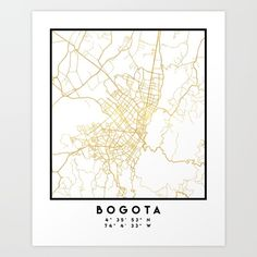 BOGOTA COLOMBIA CITY STREET MAP ART -  An elegant city street map of Bogota, Colombia in gold, with the exact coordinates of the city, make up this amazing art piece. A great gift for anybody that has love for this city. You can never go wrong with gold. I love my city.  graphic-design digital typography stencil illustration bogota colombia downtown street map coordinates souvenir gold gift city