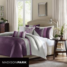 duvet and decorative pillows for a brown/purple bedroom; apparently also comes in olive/beige as well
