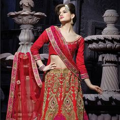 #Red Art Dupion Silk #LehengaCholi with Dupatta