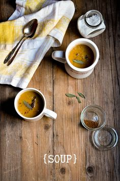 Butternut Squash, Pear, & Sage Soup | fork spoon knife
