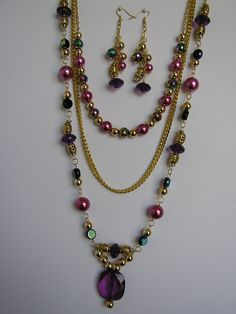 3 strand necklace and earring set in pink by jewelrybysylvia, $20.00
