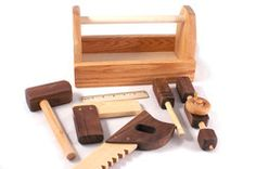 Handmade Wooden Toy Tool Box and Tools