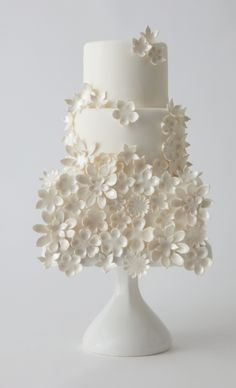 Beautiful Cake Pictures: Little White Flower Garden Wedding Cake Picture - Flower Cake, Wedding Cakes, White Cakes - Fondant Wedding Cakes, White Wedding Cakes, Beautiful Wedding Cakes, Gorgeous Cakes, Pretty Cakes, Fondant Cakes, Cupcake Cakes, Cake Wedding, Floral Wedding