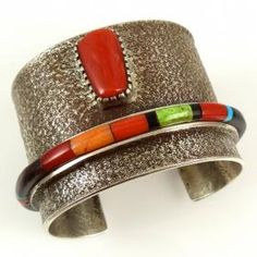 Inlay Cuff set with Coral by Edison Cummings - Garland's Indian Jewelry. $1,800