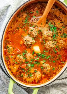 An incredible Albondigas soup which is a traditional Mexican meatball soup loaded with vegetables and full of flavor. Albondigas Soup Recipe Mexican, Mexican Meatball Soup, Mexican Meatballs, Mexican Soup Recipes, Chicken Soup Recipes, Crockpot Recipes, Cooking Recipes, Mexican Vegetable Soup, Mexican Sopa