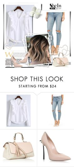 """White blouse"" by sanela1209 ❤ liked on Polyvore featuring WithChic, Paige Denim and Casadei"