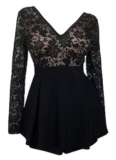 Plus size romper dress features lace overlay design. Long sheer lace sleeves. Top is lined in the front, fully see through in the back. Deep cut v-neckline. Available in Junior Plus Size 1XL, 2XL, 3XL.