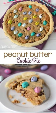 Perfect Peanut Butter Cookie Pie is like a huge peanut butter cookie in a pie crust! Top it with your favorite candy!