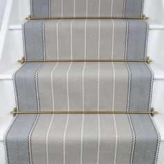 Carpet Runners Over Carpeted Stairs Staircase Carpet Runner, Stairway Carpet, Striped Carpet Stairs, Entry Stairs, House Stairs, Foyers, Hotel Carpet, Carpet Trends, Carpet Ideas
