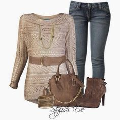 Amazing oversize sweater, jeans, handbag and high heel boots for fall