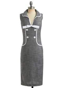 Stop in the Name of Dress - 50s, Sheath / Shift, Sleeveless, Long, Rockabilly, Pinup, 60s-WITH POCKETS. Awesome-Modcloth