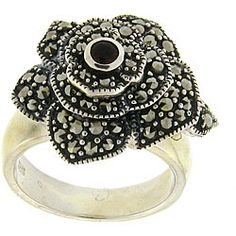 Dolce Giavonna Sterling Silver Marcasite Stone Flower Ring