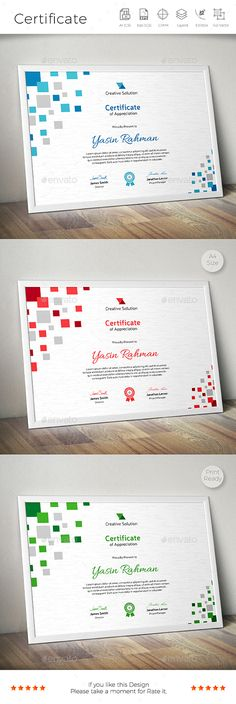 Buy Certificate by CreativeRacer on GraphicRiver. A Great Certificate Template for Creative Person. Features: Easy to Edit CMYK Color 300 DPI High Resolution Size . Certificate Layout, Certificate Design Template, Flyer Template, Attendance Certificate, Cube Design, Box Design, Stationery Design, Branding Design, Watermark Design