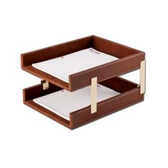 Rustic Brown Leather Double Legal Size Tray Set