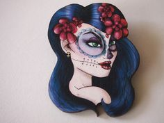 Day of the Dead Blue Laser Cut Wood Brooch by HungryDesigns